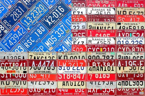 American Flag License Plate Art