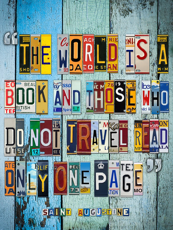 Augustine Travel Quote in License Plates