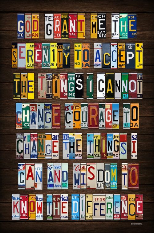 Serenity Prayer License Plate Art
