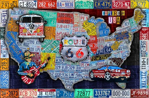 USA License Plate Collage