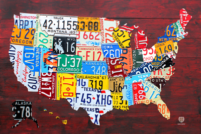 License Plate Map of the US